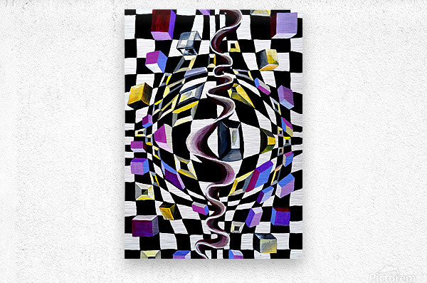 Watercolor Abstract Chess Pattern  Metal print