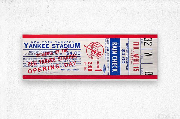 1976 new york yankees yankee stadium ticket stub art poster  Metal print