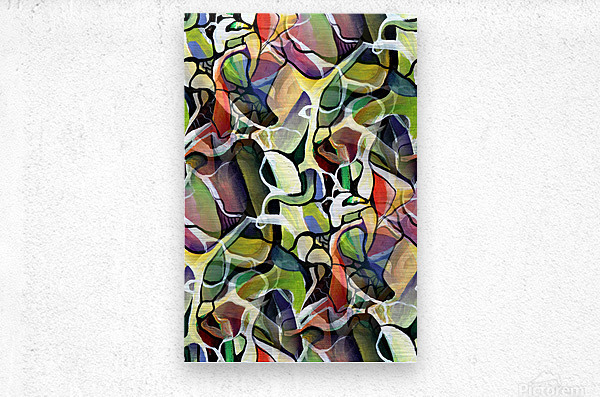 Linear Interlacing Expressionism Abstract  Metal print