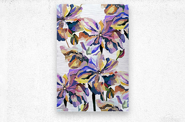 Watercolor Vintage Retro Floral Pattern   Metal print