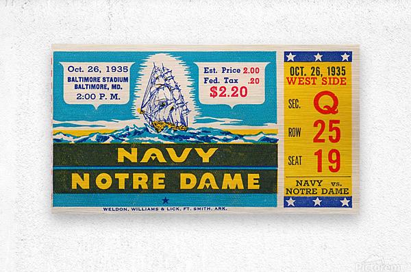 1935 Notre Dame vs. Navy Ticket Stub Wall Art  Metal print
