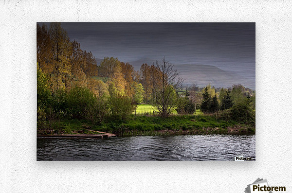 Brecon Beacons and river Usk  Metal print