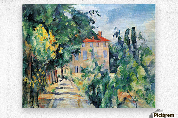 House with Red Roof by Cezanne  Metal print