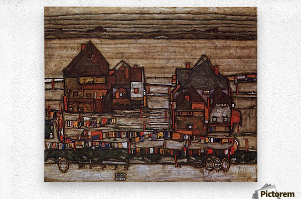 Houses with laundry lines and suburban by Schiele  Metal print