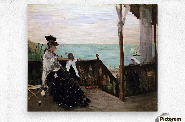 In a villa on the beach by Morisot  Metal print