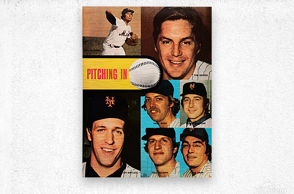 vintage mets poster tom seaver pitcher  Metal print