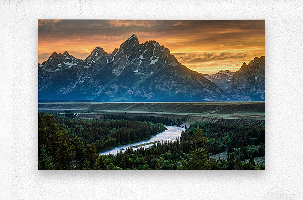 Sunset on Grand Teton and Snake River - Wyoming  Metal print
