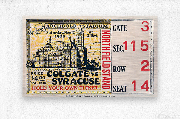 1928 Colgate vs. Syracuse  Metal print