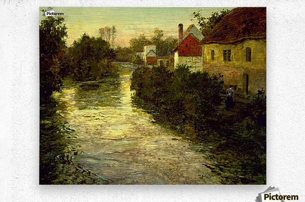 Village on the Bank of a Stream  Metal print