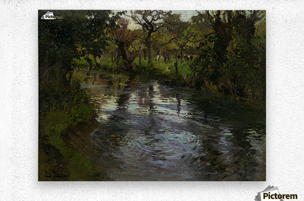 Woodland Scene with a River  Metal print