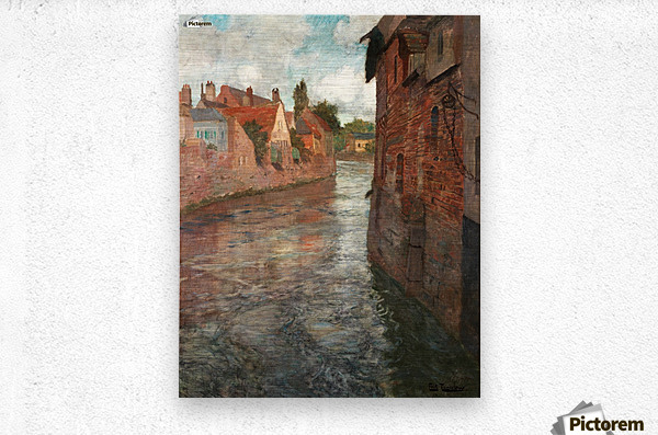 Old houses at somme in Abbeville  Metal print