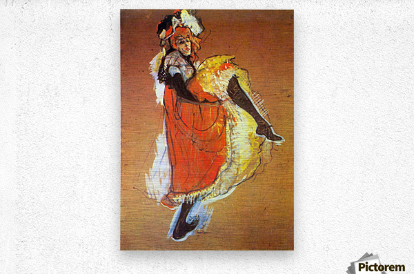Jane Avril Dancing by Toulouse-Lautrec  Metal print