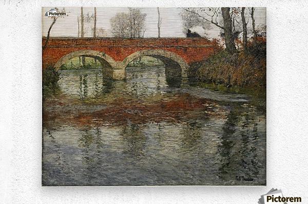French River Landscape with a Stone Bridge  Metal print