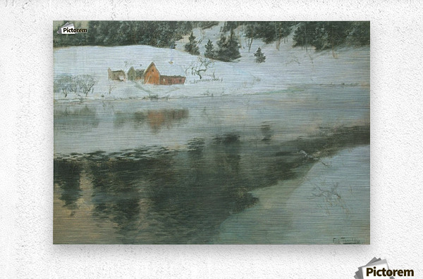 Winter landscape with river  Metal print