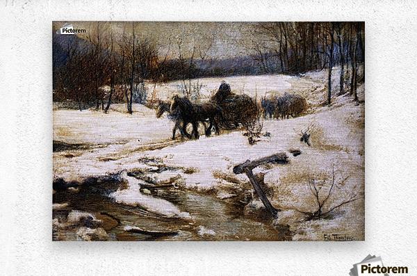 Horse Drawn Carts in Winter  Metal print