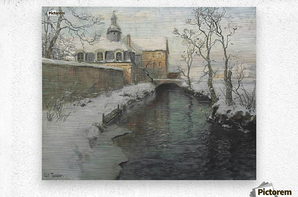 City wall with river during winter  Metal print