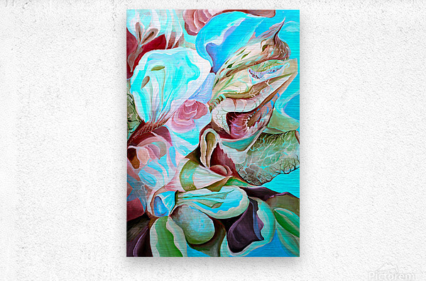 Realm of Tropical Exotic Nature Pattern  Metal print