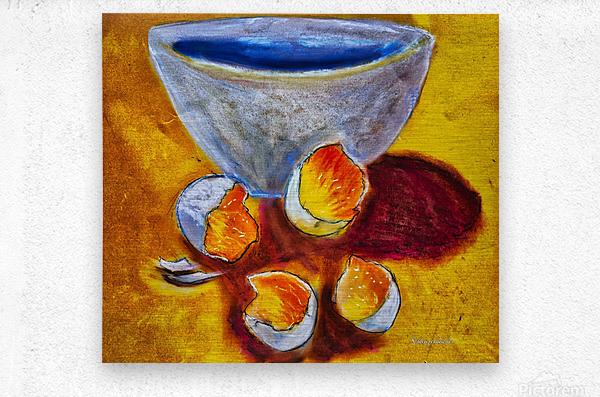 Eggs and a bowl  Metal print