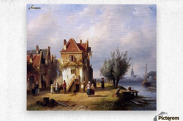 Leickert Charles Henri View on a village near to a river Sun  Metal print