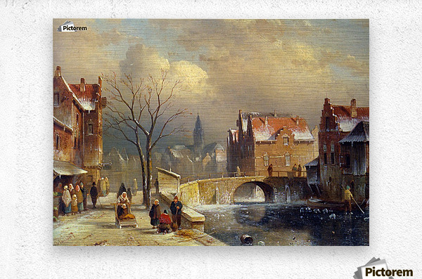 Winter villagers on a snowy street by a canal  Metal print