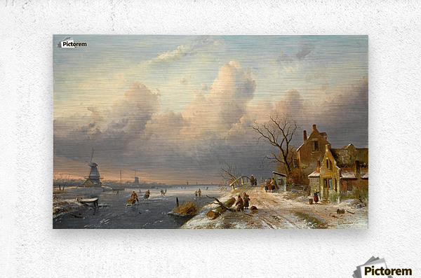 Winter landscape with figures and windmills  Metal print