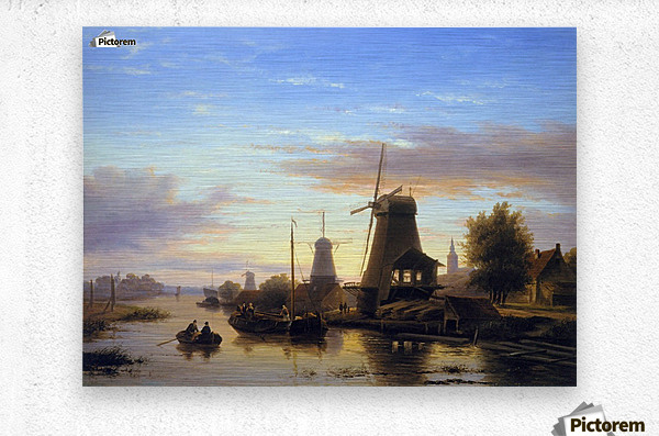 Mills at the Schie at dusk Sun  Metal print
