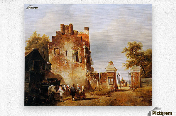 Villagers and horse at tollgate Sun  Metal print