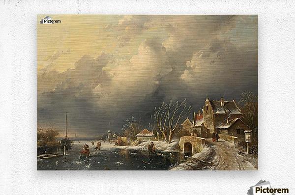 Winter landscape with skaters near a Koek-en-Zopie  Metal print