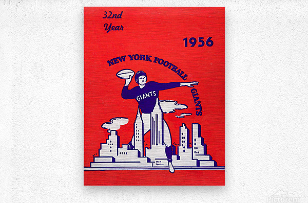 1956 new york giants vintage nfl poster  Metal print