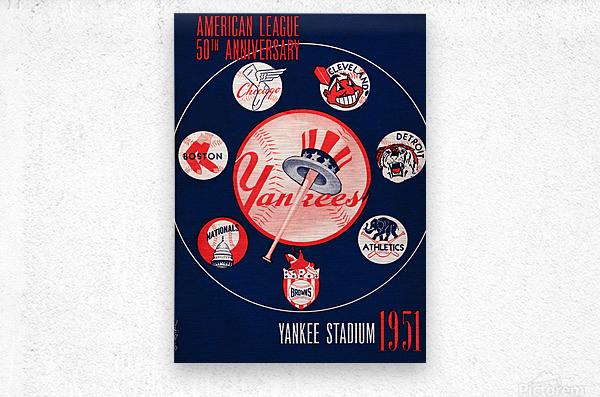 1951 new york yankees logo lon keller art  Metal print