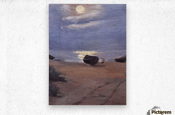 Boats in the moonlight on South Beach by Anna Ancher  Metal print