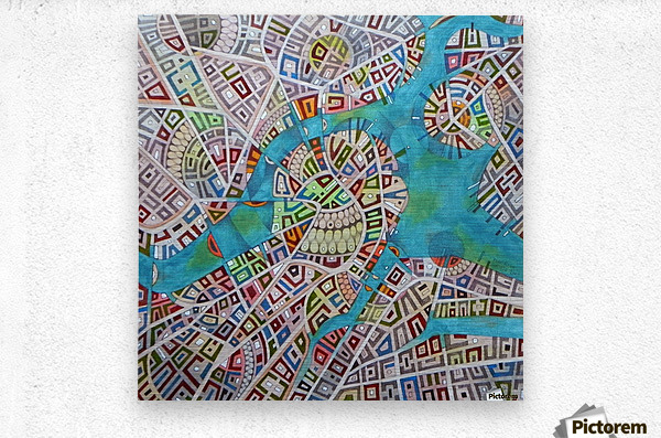 imaginary map of Boston  Metal print