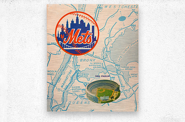 vintage mets shea stadium map poster metal man cave sign  Metal print