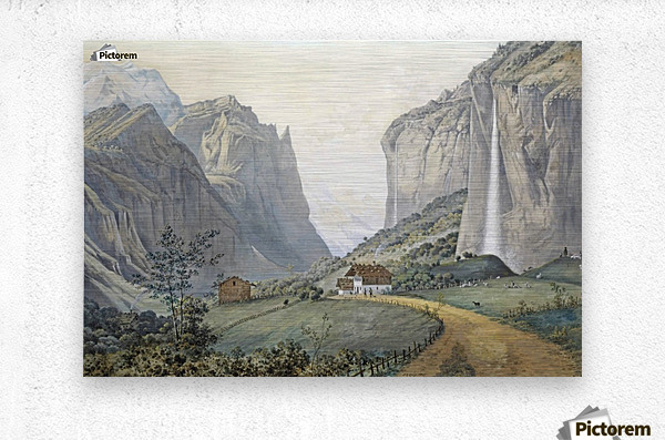 The Staubbach Falls by Lauterbrunnen in the Swiss Alps  Metal print