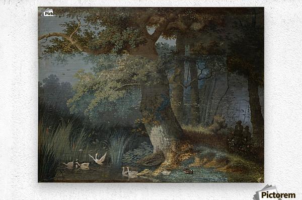Eendenvijver in een bos met twee jagers  Metal print