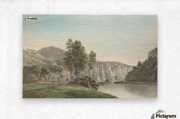 River Landscape with Distant Cliffs  Metal print