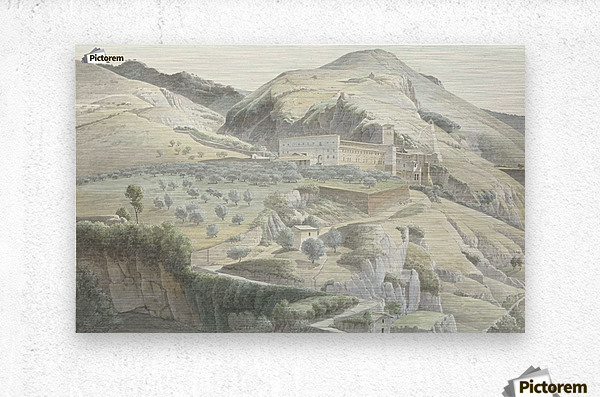 Landschap met klooster bij Subiaco  Metal print