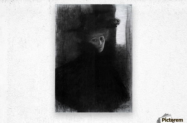 Lady with a hat and Cape by Klimt  Metal print