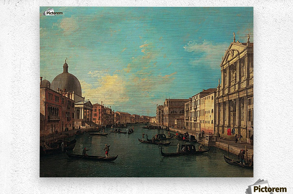 Venezia with figures along the canal  Metal print