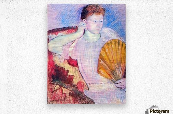 Lady with Fan by Cassatt  Metal print