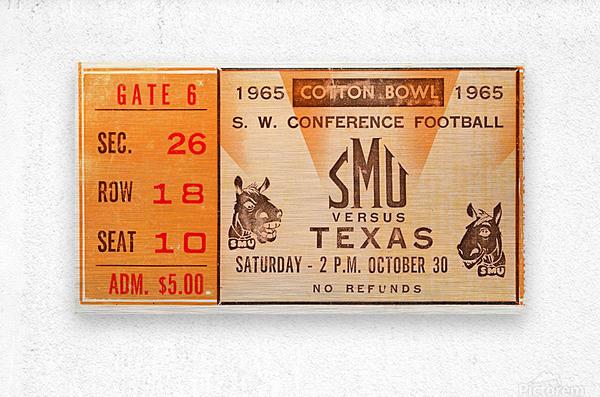 1965 texas longhorns smu mustangs college football  Metal print