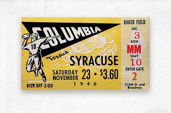 1946 columbia syracuse football ticket stub art number 18 jersey  Metal print