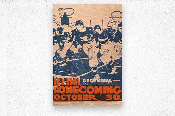 1920 illinois illini football homecoming art  Metal print
