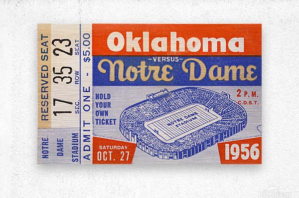 1956 oklahoma notre dame college football ticket stub wall art  Metal print