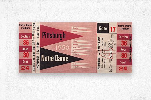 1950 pittsburgh notre dame vintage college football ticket wall art  Metal print