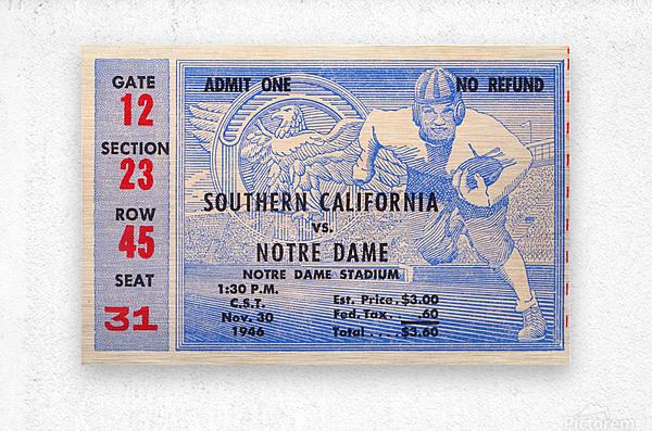 1946 notre dame southern california ticket stub framed prints  Metal print