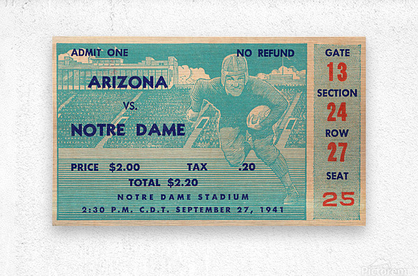 1941 arizona notre dame football frank leahy first game  Metal print