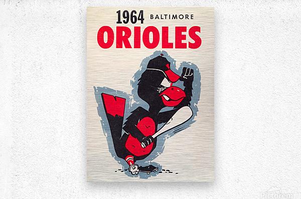 1964 baltimore orioles vintage baseball art poster  Metal print