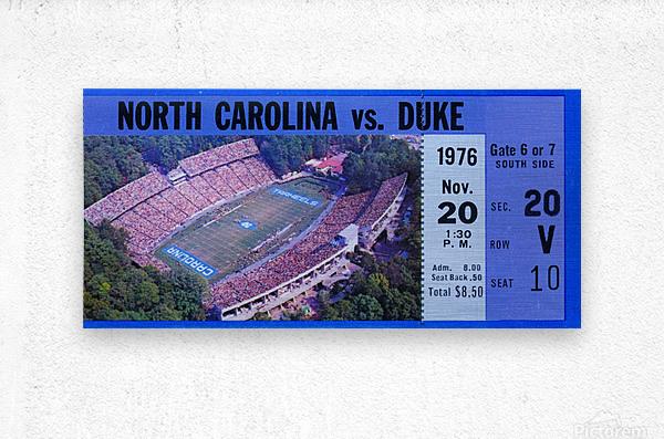 1976 duke north carolina vintage college football ticket art for the wall  Metal print