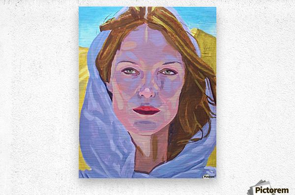 Beautiful blonde woman under a hard sun - Modern, Realism, Figurative, Portraiture, Acrylic  series  Metal print